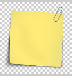 Paper mockup yellow note attached metallic vector