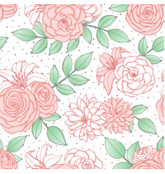 Pattern with pink lily peony and rose flowers vector