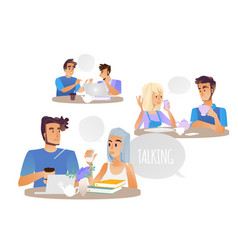 people talking set with vector image