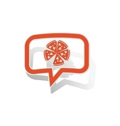 Pizza message sticker orange vector