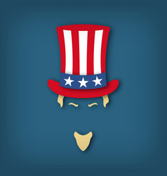 portrait of uncle sam in paper cut style national vector image