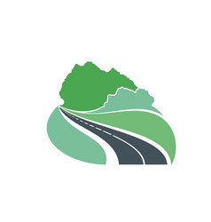 Road icon forest highway path way travel journey vector