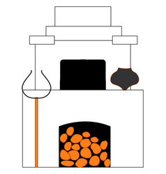 Russian old stove on white background vector