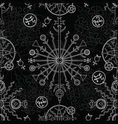 Seamless background with white mystic symbols vector