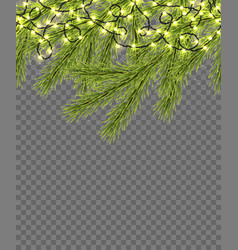 seamless border with relistic firtree sparkling vector image