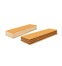 set of 3d realistic rectangular crispy vector image