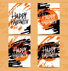 set of art cards for happy halloweendesign vector image