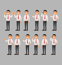set of businessman cartoon in a white suit vector image