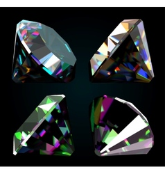 Set of jewelry gems on black background vector image