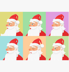 Shown set of different emotions from santa claus vector
