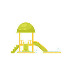 Small green water slides with pools aqua park vector
