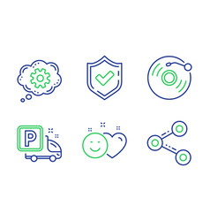 Smile confirmed and vinyl record icons set vector