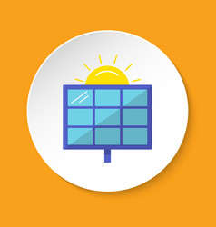 solar panel icon in flat style on round button vector image