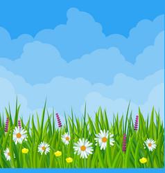 Spring meadow cloudscape vector