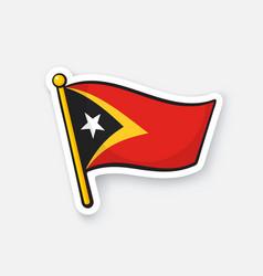 Sticker flag east timor on flagstaff vector