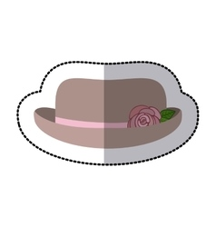 Sticker lace hat roses cloche retro design vector
