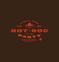stock template hot dog label vector image