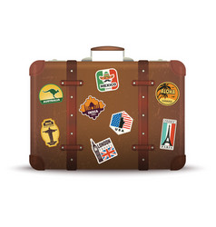 Suitcase stickers old retro luggage with travel vector