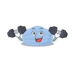 Surgical mask mascot feels happy lift up barbells vector