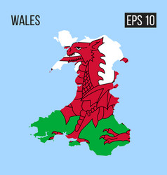 Wales map border with flag eps10 vector
