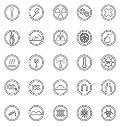 Warning sign line icons on white background vector image