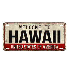 Welcome to hawaii vintage rusty metal plate vector