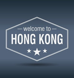 Welcome to Hong Kong hexagonal white vintage label vector