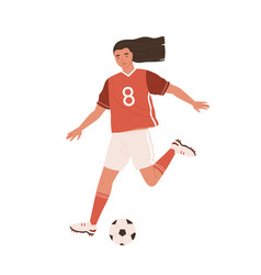 young female soccer player running and kicking vector image