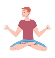 young man cross-legged sitting in padmasana or vector image