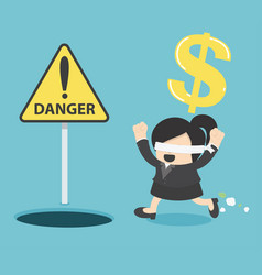 Blindfolded business woman running to find money vector