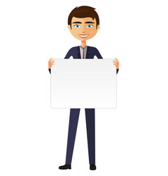 businessman holding white blank poster vector image