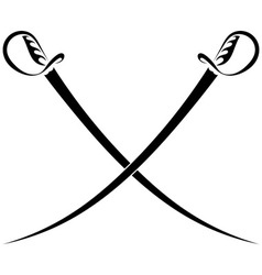 Crossed swords on a white background vector image vector image