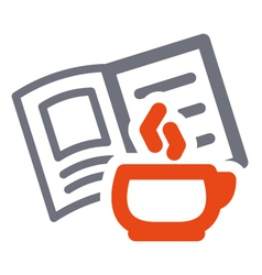 cup and book sign vector image vector image