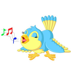 cute bird singing vector image vector image