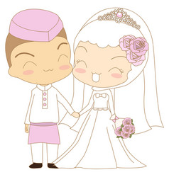 cute couple islamic vector image vector image