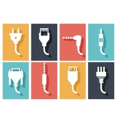 Electric plug flat icons vector image