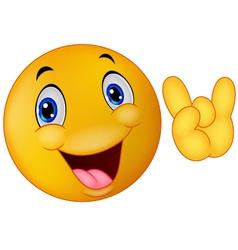 Emoticon smiley giving hand sign vector image vector image
