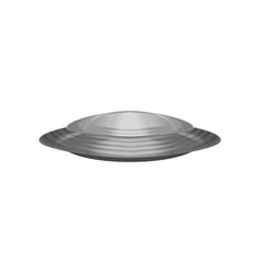 extraterrestrial spacecraft in disc shape silver vector image