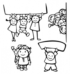 happy kids stand by blanks vector image vector image
