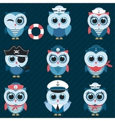sailor owls and owlets vector image