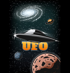 vintage colorful ufo poster vector image vector image