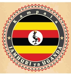 Vintage label cards of Uganda flag vector image