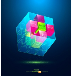 abstract blue cube vector image