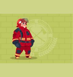 fireman wearing uniform and helmet adult fire vector image vector image