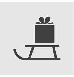 Gift on sled icon vector image