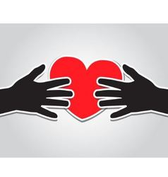 Hands holding the heart vector image vector image