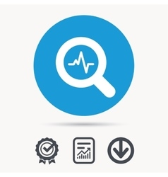 Heartbeat in magnifier icon Cardiology symbol vector image vector image