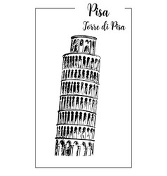 leaning tower of pisa bell tower sketch vector image vector image