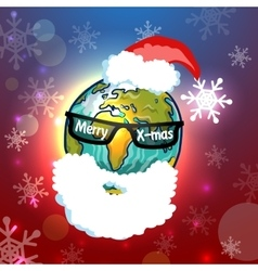 Santa Claus globe vector image
