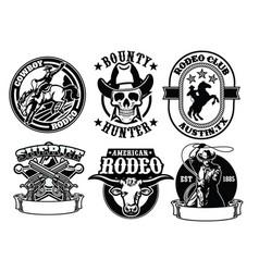 set of cowboy badge vector image vector image